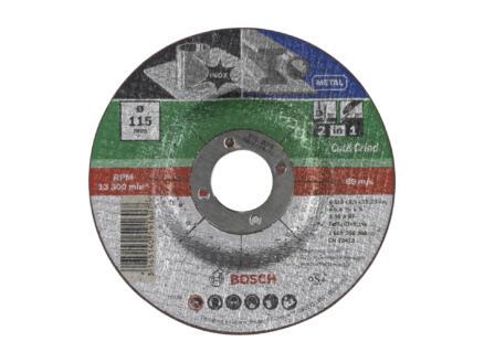 Bosch 2-in-1 doorslijpschijf inox/metaal 115x2,5x22,23 cm gebogen