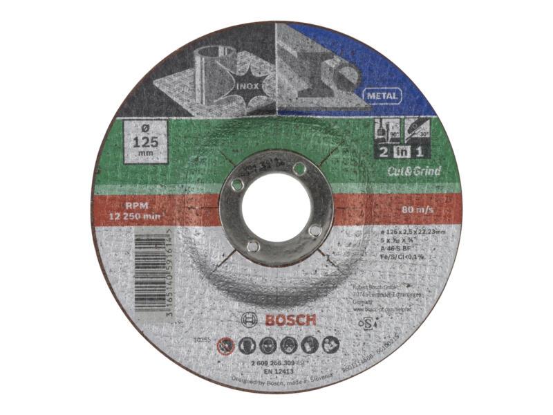 Bosch 2-in-1 doorslijpschijf inox/metaal 125x2,5x22,23 mm gebogen