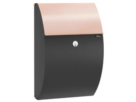 Allux 7000 KS brievenbus gegalvaniseerd staal en koper zwart