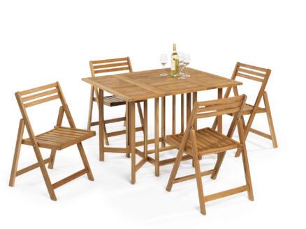 Garden Plus Alcanada ensemble de jardin avec 4 chaises brun