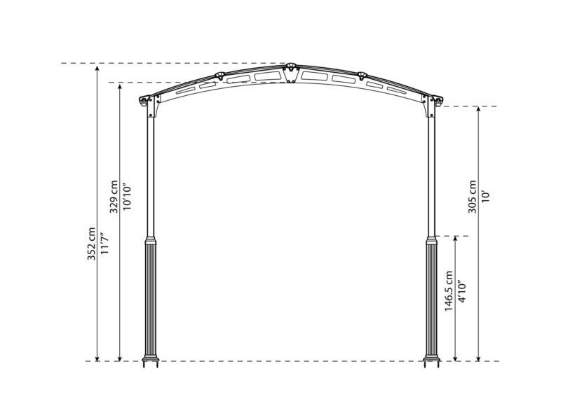 Palram Alpine 6400 carport 359x217x649 cm metaal brons/grijs