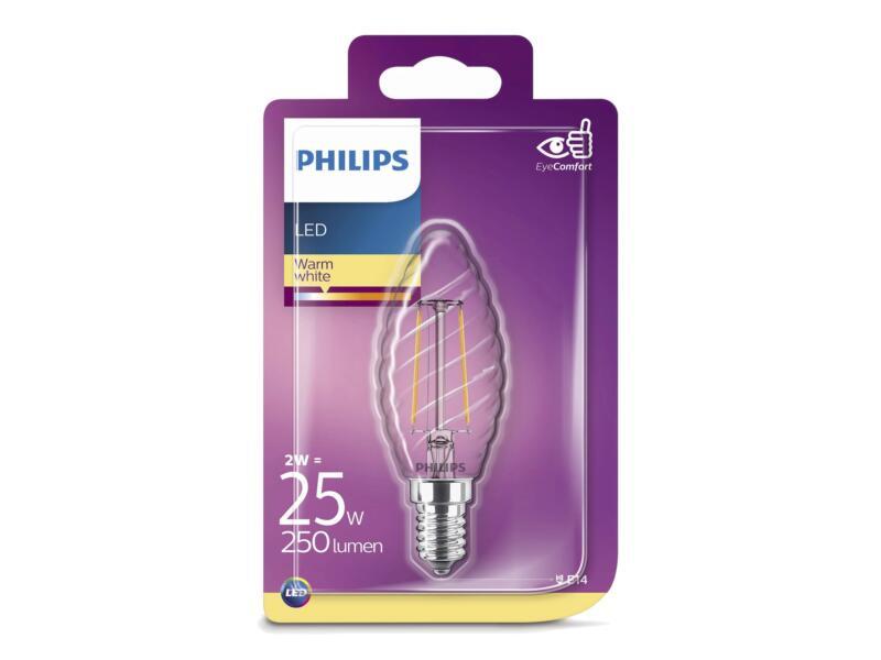 Philips Ampoule LED flamme torsadé E14 2W