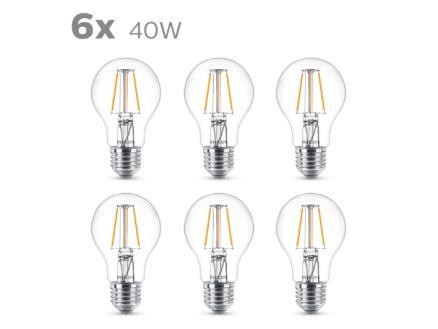 Philips Ampoule LED poire filament E27 4W 6 pièces