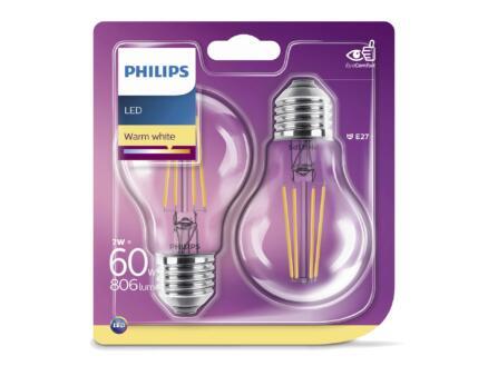 Philips Ampoule LED poire filament E27 6W 2 pièces
