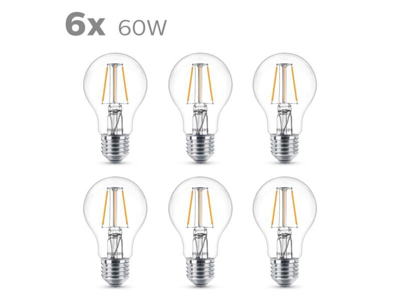 Philips Ampoule LED poire filament E27 7W 6 pièces