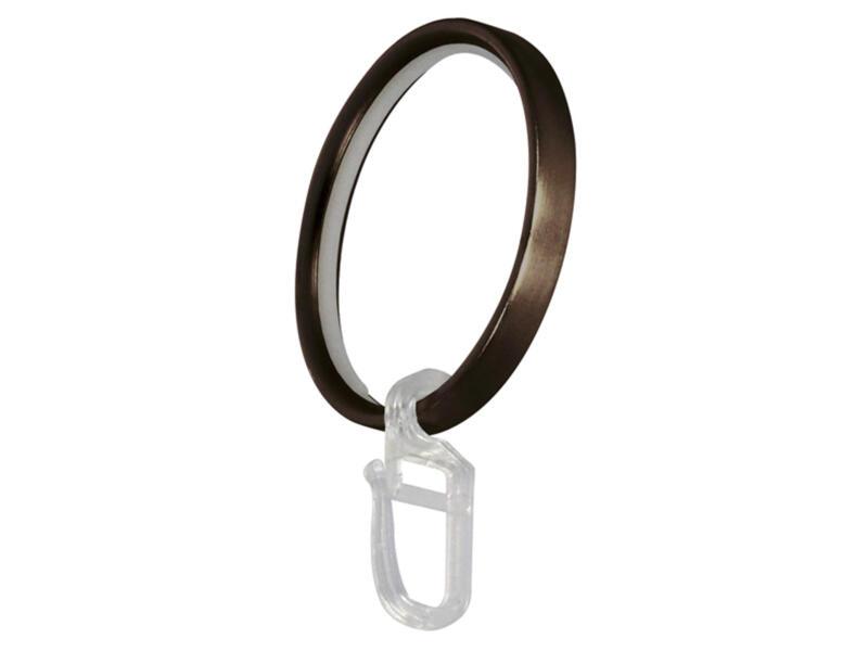 Anneau + crochet pour tringle à rideau 25mm/50x6 mm bronze 8 pièces