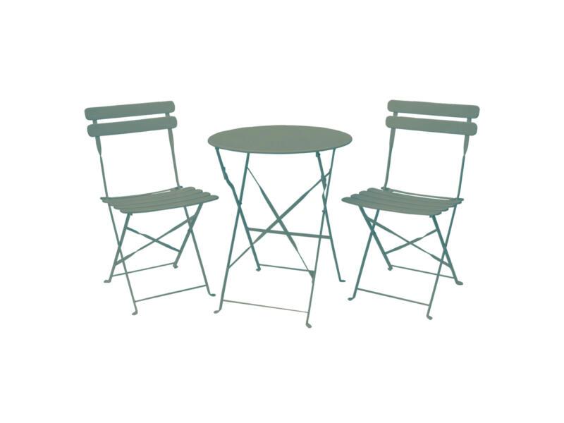 Garden Plus Arcadia bistroset met 2 stoelen muntgroen
