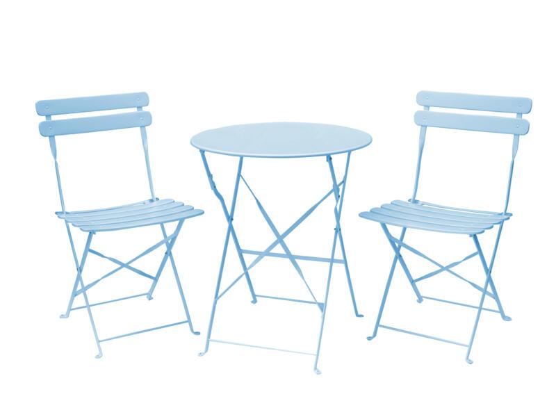 Garden Plus Arcadia set bistro avec 2 chaises bleu clair