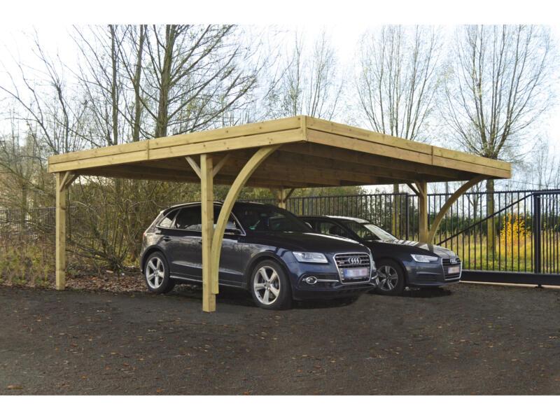 Arro dubbele carport 600x550 cm hout