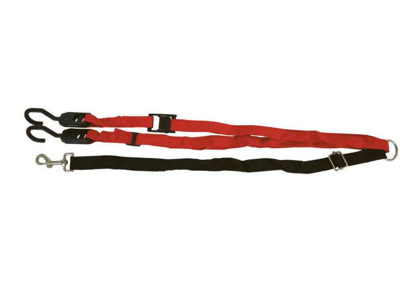 Attache de sécurité avec tyrolienne pour chien 225cm rouge/noir