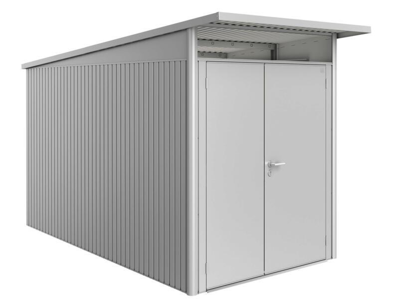 Biohort AvantGarde A4 tuinhuis 180x220x380 cm zilver metaal met dubbele deur