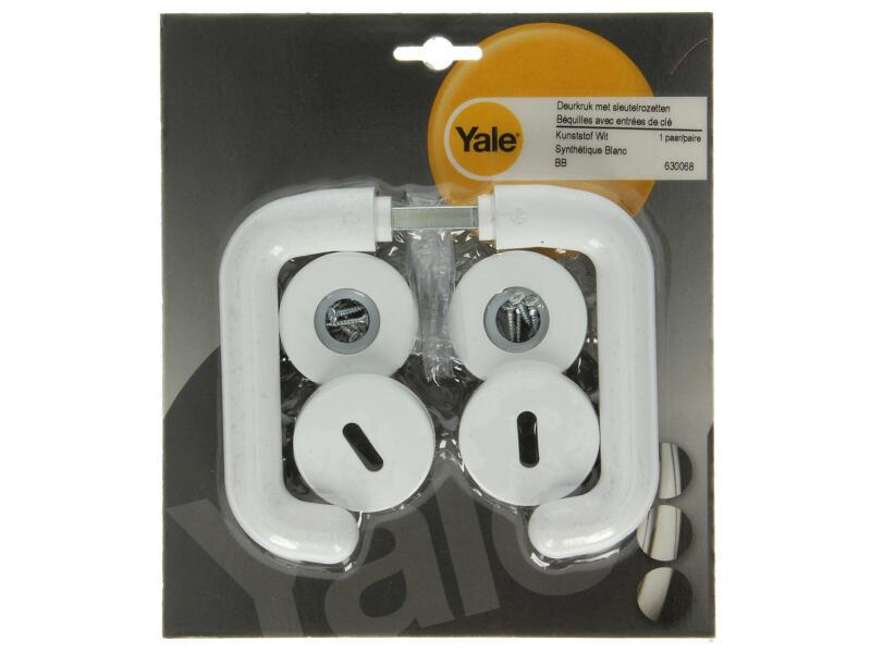 Yale BB poignée de porte avec rosaces 50mm set complet PVC blanc