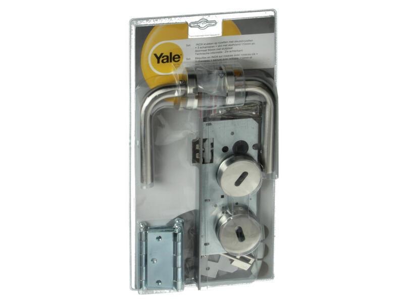 Yale BB110 quincaillerie de porte set complet avec rosaces inox