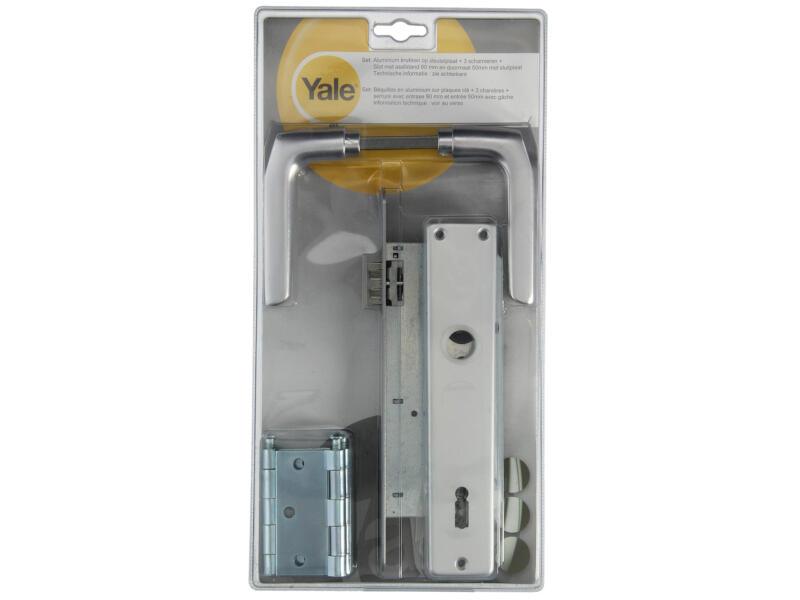 Yale BB90 quincaillerie de porte set complet avec plaques aluminium