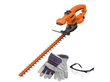 Black+Decker BEHT251KIT-QS taille-haies électrique 450W 50cm +  lunnettes de sécurité + gants