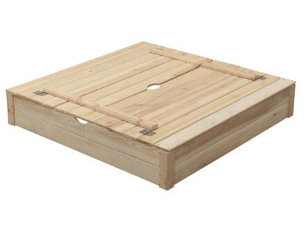 Bac à sable Robert avec bancs couvercle 120x120 cm
