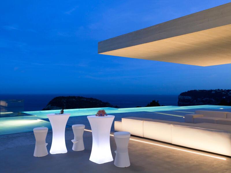 Bahama table haute lumineuse 70cm blanc
