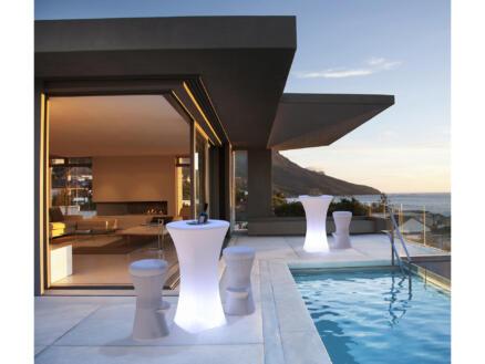 Bahama table haute lumineuse avec 2 chaises blanc/taupe