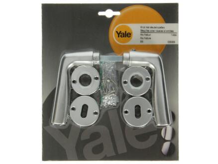 Yale Banana BB poignée de porte avec rosaces 44mm set complet aluminium