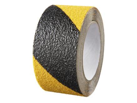 Bande adhésive antidérapante sur rouleau 3m x 50mm noir/jaune