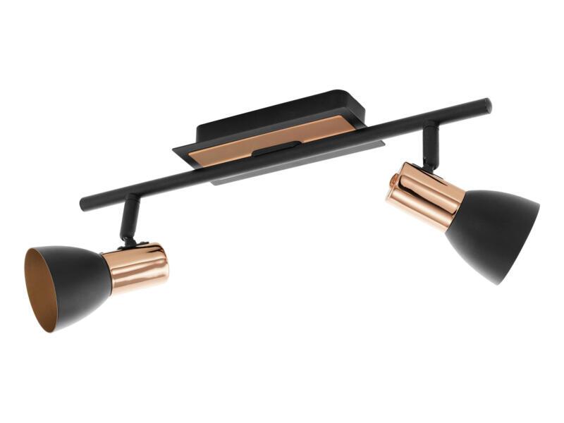 Eglo Barnham barre de spots LED GU10 2x3,3 W noir/rose or