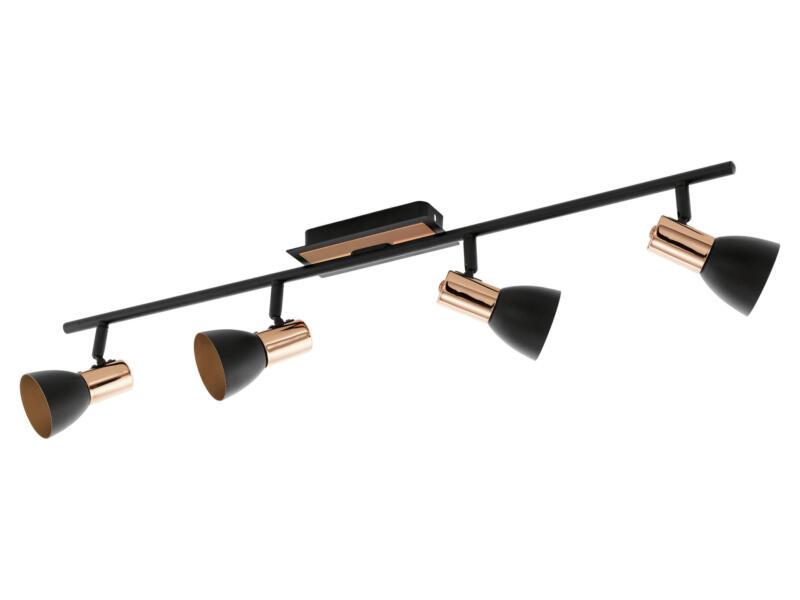 Eglo Barnham barre de spots LED GU10 4x3,3 W noir/rose or