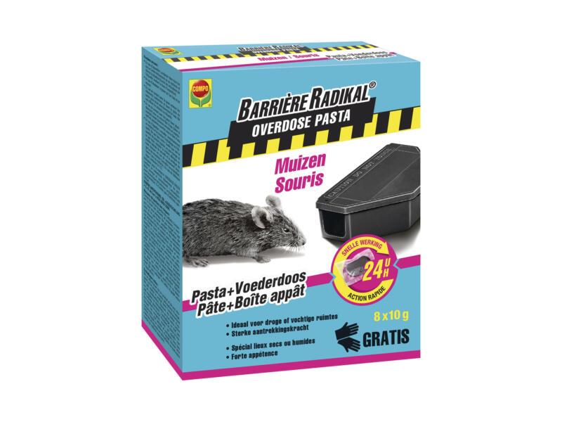 Compo Barrière Radikal Overdose pâte + boîte d'appâtage souris 8x10 g