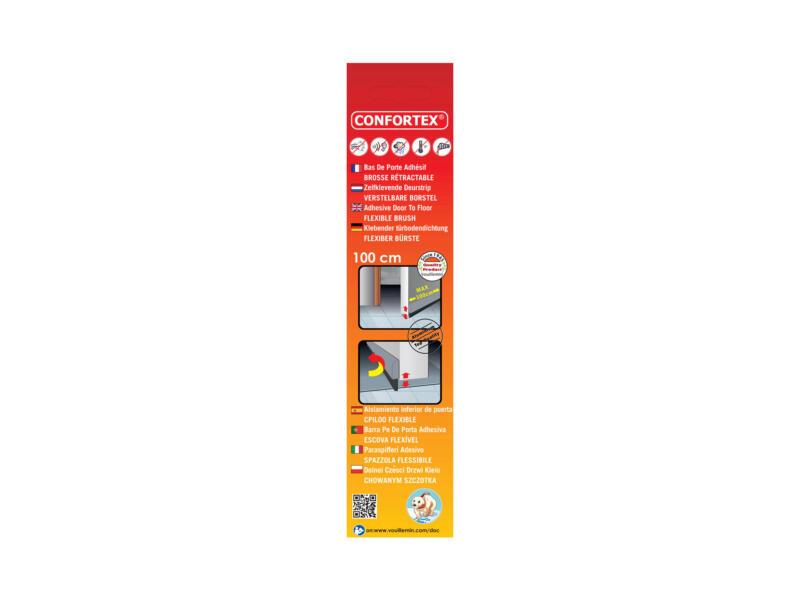 Confortex Bas de porte autoadhésif avec brosse rétractable 98cm 1,2cm gris