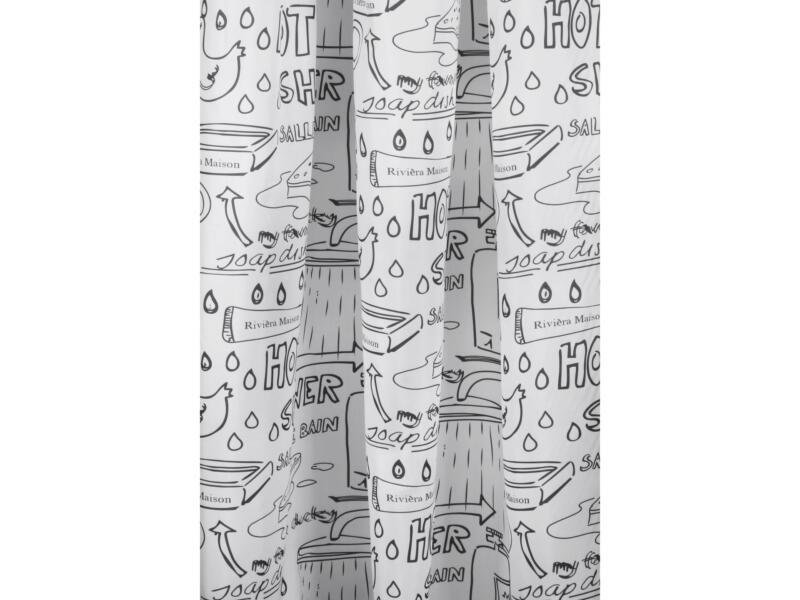 Differnz Bath douchegordijn 180x200 cm wit/zwart