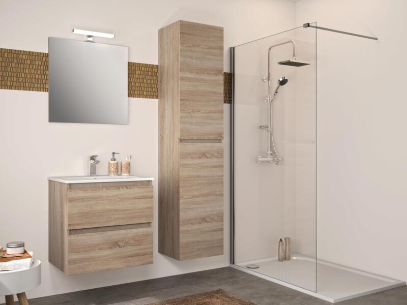 Allibert Bazil meuble salle de bains 60cm 2 tiroirs chêne