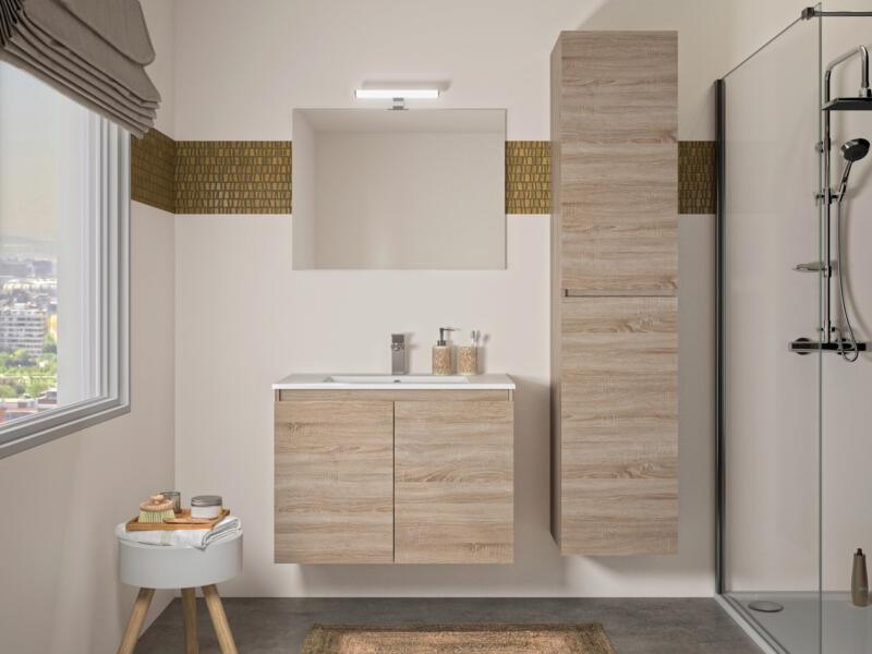 Allibert Bazil meuble salle de bains 80cm 2 portes chêne