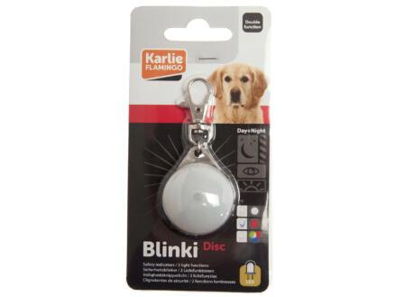 Flamingo Blinki Disc LED lamp halsband hond 3,5cm wit