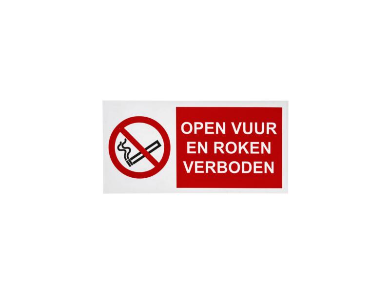 Bord verbod roken en open vuur 15x30 cm