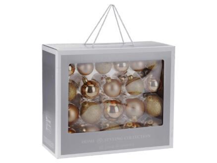 Boules de Noël verre 42 pièces or