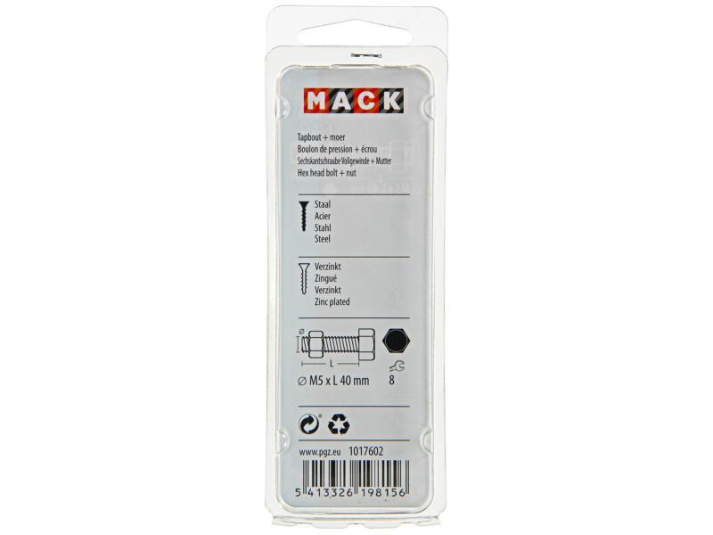 Mack Boulon de pression avec écrou M5 40mm zingué 10 pièces