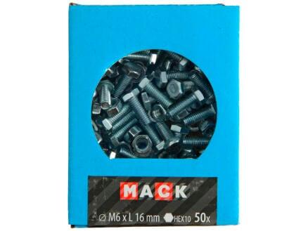 Mack Boulon de pression avec écrou M6 16mm zingué 50 pièces