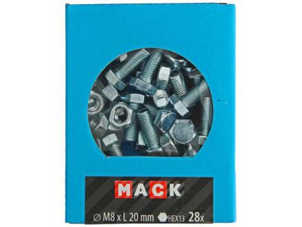 Mack Boulon de pression avec écrou M8 20mm zingué 30 pièces