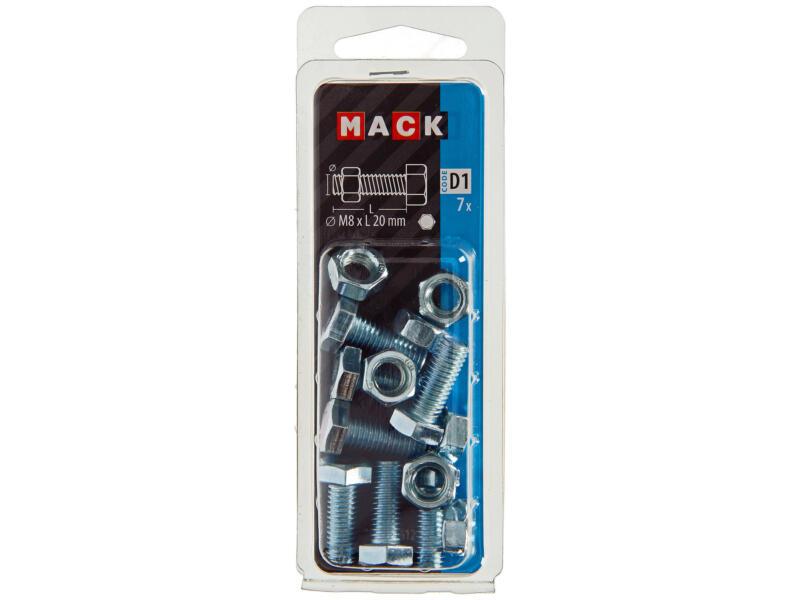 Mack Boulon de pression avec écrou M8 20mm zingué 7 pièces