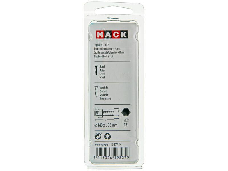 Mack Boulon de pression avec écrou M8 35mm zingué 5 pièces