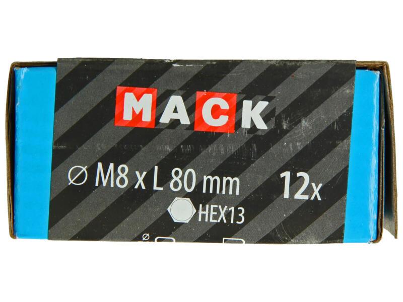 Mack Boulon de pression avec écrou M8 80mm zingué 12 pièces