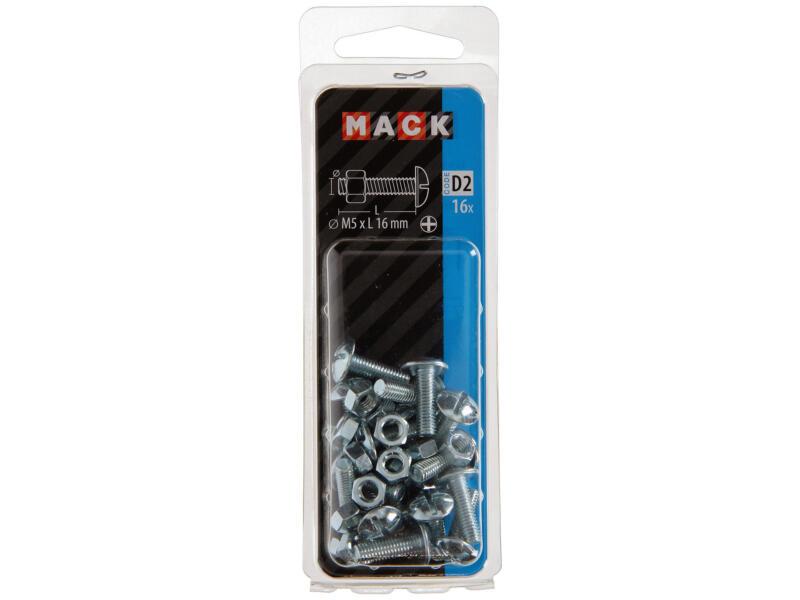 Mack Boulon poêlier avec écrou M5 16mm zingué 16 pièces