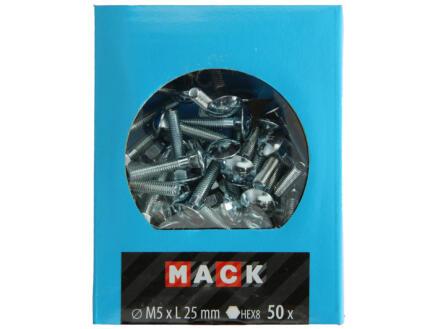 Mack Boulon pour bois avec écrou M5 25mm zingué 50 pièces