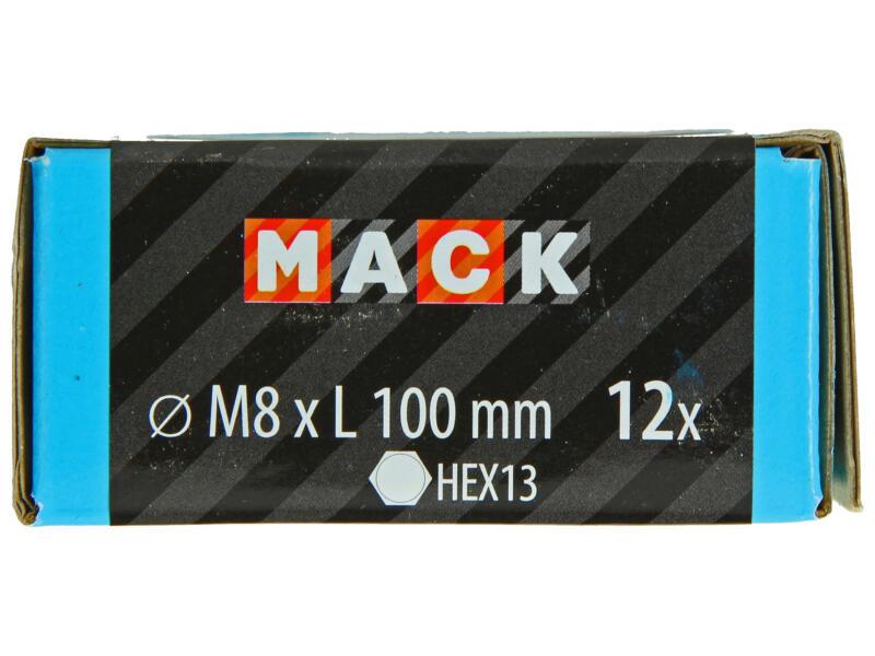 Mack Boulon pour bois avec écrou M8 100mm zingué 12 pièces