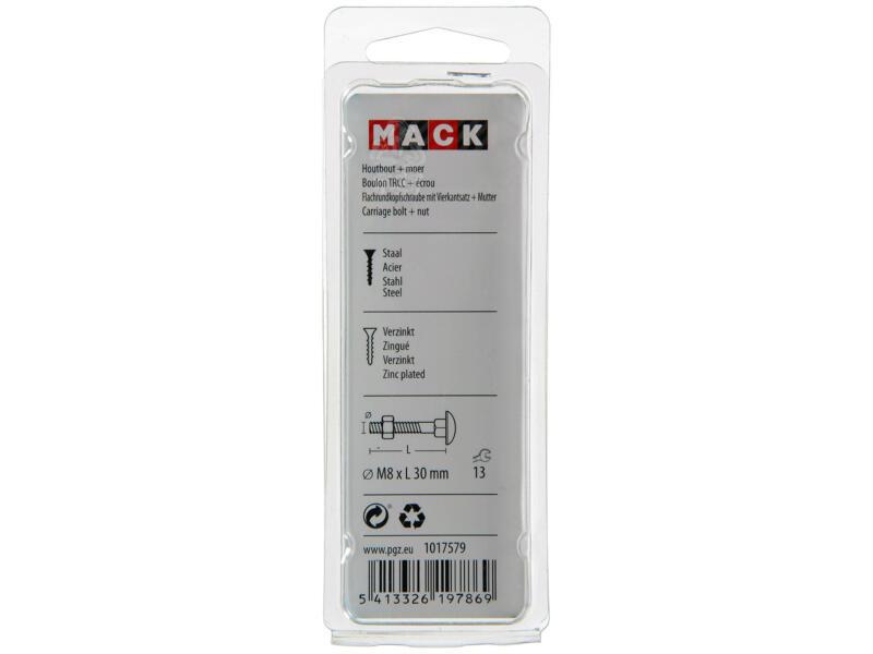 Mack Boulon pour bois avec écrou M8 30mm zingué 6 pièces
