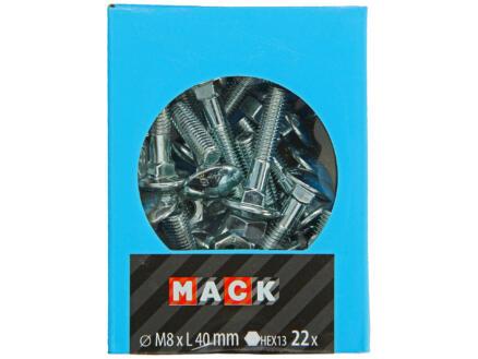 Mack Boulon pour bois avec écrou M8 40mm zingué 22 pièces