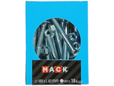 Mack Boulon pour bois avec écrou M8 60mm zingué 18 pièces