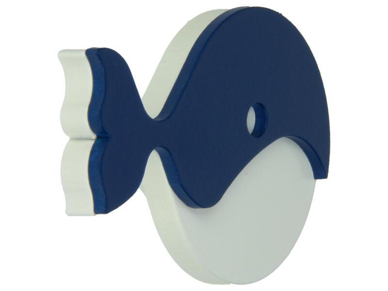 Sam Bouton de meuble Baleine bleu et blanc