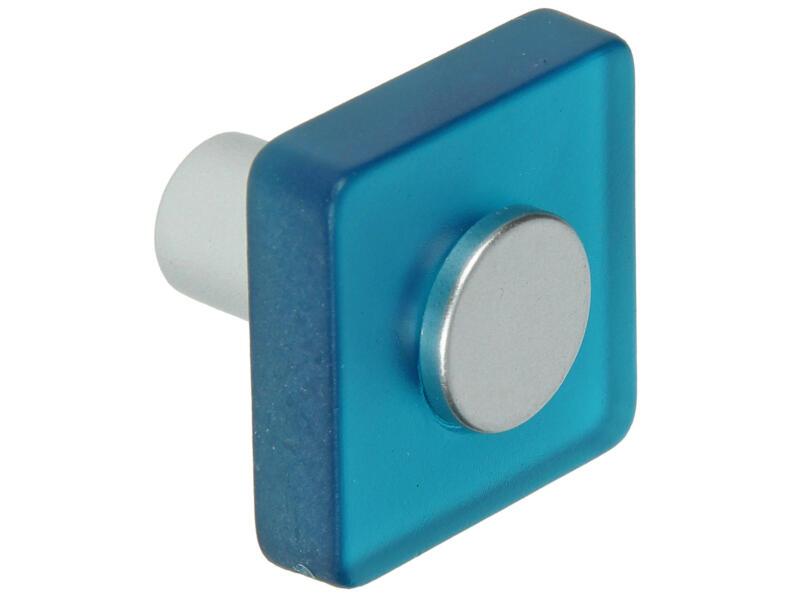 Sam Bouton de meuble carré matière synthétique bleu 2 pièces