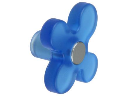 Sam Bouton de meuble fleur matière synthétique bleu 2 pièces