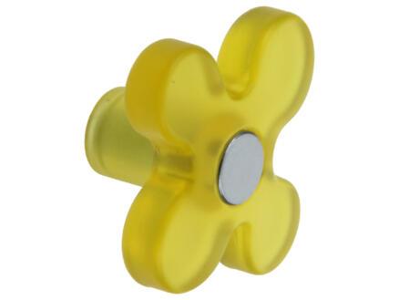 Sam Bouton de meuble fleur matière synthétique jaune 2 pièces
